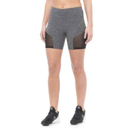 """Vogo Mesh Insert Shorts - 6"""" (For Women) in Heather Charcoal - Closeouts"""