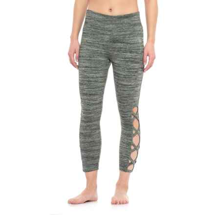Vogo Open Lattice Capri Leggings (For Women) in Olive Black - Closeouts