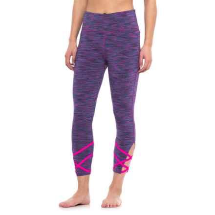 Vogo Strappy Yoga Capris (For Women) in Fuschsia Purple/Fuchsia Binding - Closeouts