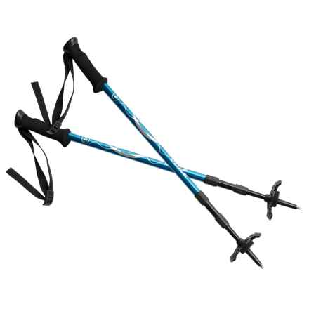 Voile Backcountry Adjustable Ski Poles with Snow Scraper in Blue/Black - Closeouts