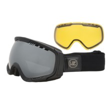 Von Zipper Feenom Snowsport Goggles - Interchangeable Lens, Asian Fit in Black Satin/Black Chrome/Yellow Chrome - Closeouts