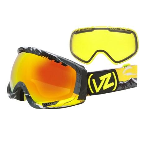 Von Zipper Feenom Snowsport Goggles - Interchangeable Lens, Asian Fit in Gnar Waiian Yellow/Lunar Chrome/Yellow Chrome