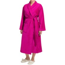 Vossen Feeling Bathrobe - Velour, Long Sleeve (For Men and Women) in Cranberry - Closeouts