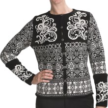 Vrikke Nordic Wool Ski Cardigan Sweater (For Women) in Black - Closeouts