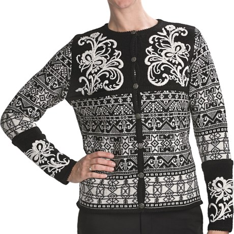 Vrikke Nordic Wool Ski Cardigan Sweater (For Women) in Black