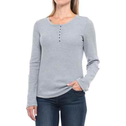 Waffle-Knit Mixed Yarn Henley Shirt - Long Sleeve (For Women) in Blue - 2nds
