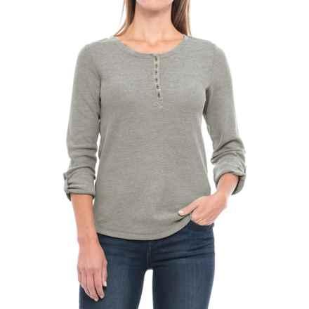 Waffle-Knit Mixed Yarn Henley Shirt - Long Sleeve (For Women) in Grey - 2nds