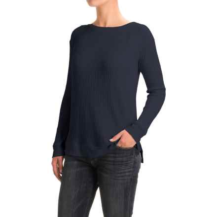 Waffle-Weave Tunic Shirt - Long Sleeve (For Women) in Navy - 2nds