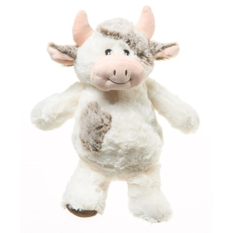 """Wags and Purrs Two-Tone Cow Squeaker Dog Toy - 9"""" in Multi"""