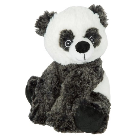 Wags and Purrs Two-Tone Panda Squeaker Dog Toy in Black/White