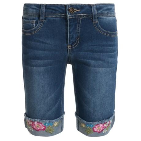 Wallflower Girl Embroidered-Cuff Bermuda Denim Shorts (For Little Girls) in Medium Dark Wash