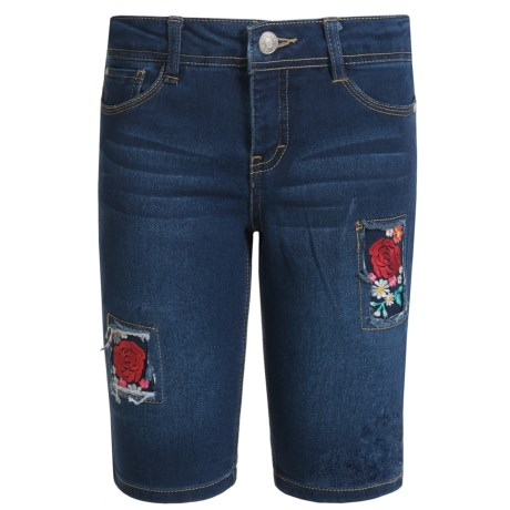Wallflower Girl Flower-Patched Bermuda Denim Shorts (For Little Girls) in Medium Dark Wash