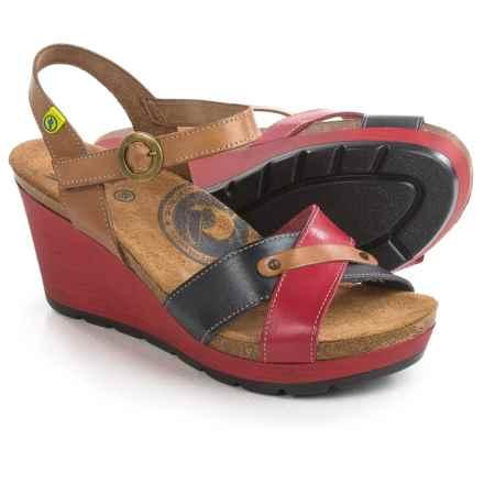 Wanda Panda Cross-Strap Sandals - Leather, Wedge Heel (For Women) in Red/Navy/Tan - Closeouts