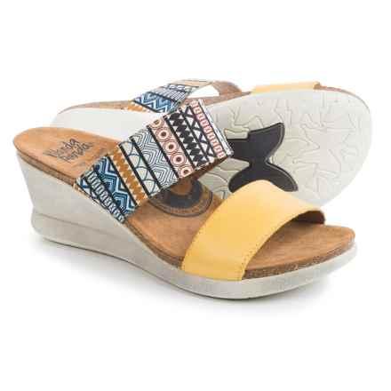 Wanda Panda Double-Strap Sandals - Leather, Wedge Heel (For Women) in Mustard - Closeouts