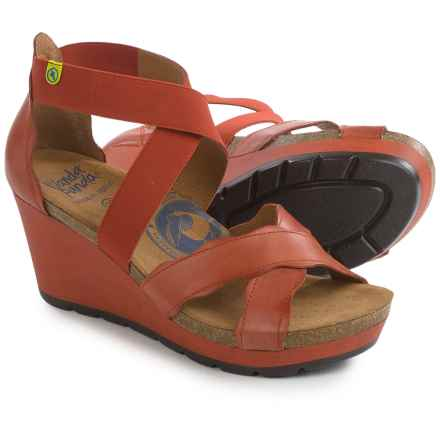Wanda Panda Strappy Wedge Sandals - Leather (For Women) in Dark Coral - Closeouts