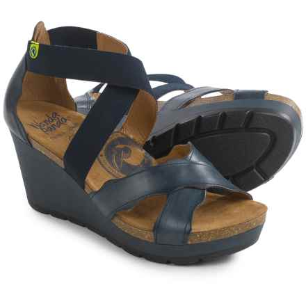 Wanda Panda Strappy Wedge Sandals - Leather (For Women) in Navy - Closeouts