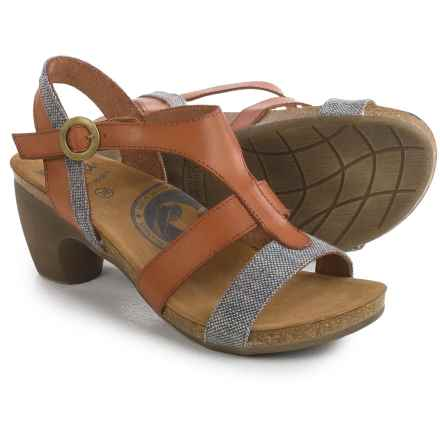 Wanda Panda T-Strap Sandals - Leather (For Women) in Tan/Grey - Closeouts