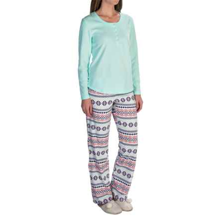 Warm and Cozy Microfleece Pajamas - Long Sleeve (For Women) in Light Turquoise/ White Multi Print - 2nds