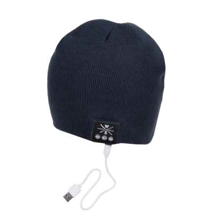 Warriors & Scholars WS Wireless Bluetooth® Beanie - Built-In Headphones in Navy - Closeouts