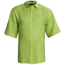 Washable Linen Shirt - Short Sleeve (For Big and Tall Men) in Lime - Closeouts