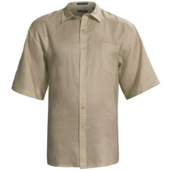 Washable Linen Shirt - Short Sleeve (For Big and Tall Men) in Aqua