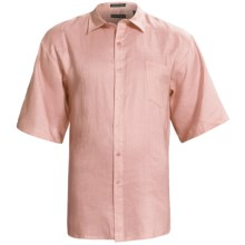 Washable Linen Shirt - Short Sleeve (For Big and Tall Men) in Pink - Closeouts