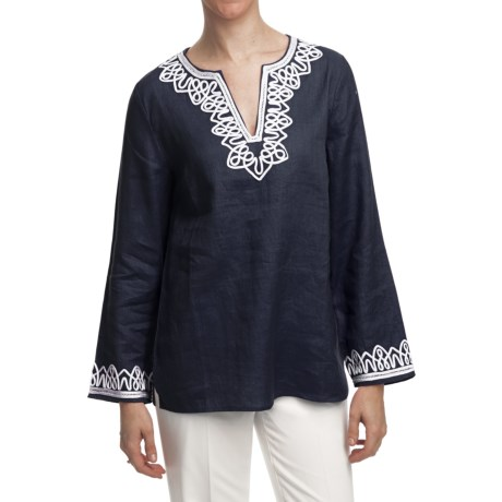 Washable Linen Tunic Shirt - Long Sleeve (For Women) in Navy