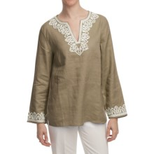 Washable Linen Tunic Shirt - Long Sleeve (For Women) in Tan - 2nds