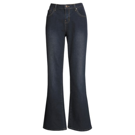 Washed Bootcut Jeans - Stretch Cotton (For Women) in Indigo