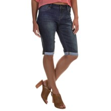 Washed-Denim Bermuda Shorts (For Women) in Dark Denim - 2nds