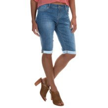 Washed-Denim Bermuda Shorts (For Women) in Light Wash - 2nds