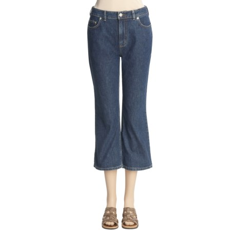 Washed Denim Crop Jeans (For Women) in Dark Indigo