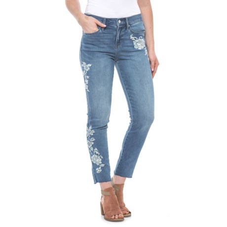 Washed Floral Embroidered Skinny Jeans (For Women)