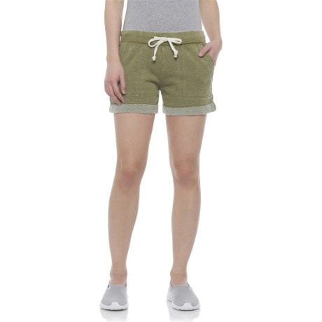 Washed Olive Lounge Shorts (For Women)