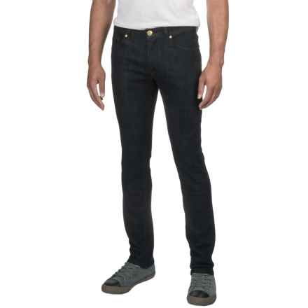 Washed Stretch Denim Jeans - Straight Leg (For Men) in Dark Blue - 2nds