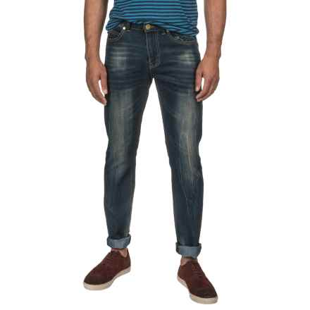 Washed Stretch Denim Jeans - Straight Leg (For Men) in Deep Indigo - 2nds