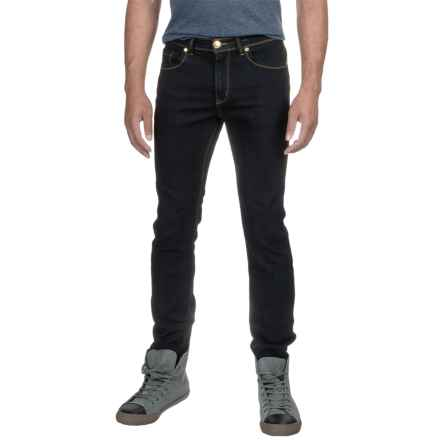 Washed Stretch Denim Jeans - Straight Leg (For Men) in Deep Navy - 2nds