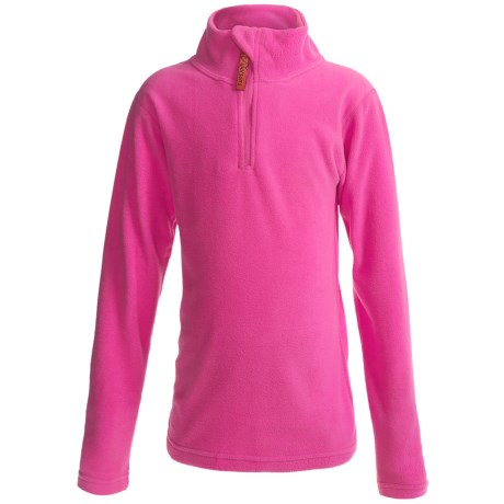 Watson's Brushed Microfleece Base Layer Top - Zip Neck, Long Sleeve (For Girls) in Pink