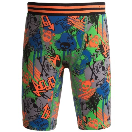 Watson's Compression Stretch Nylon Shorts (For Boys) in Skulls Print