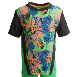 Watson's Crew Neck T-Shirt - Compression Stretch Nylon, Short Sleeve (For Boys) in Skulls Print