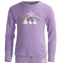 Watson's Long Underwear Top - Long Sleeve (For Girls) in Purple Snowmen - Closeouts