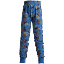 Watson's Ring-Spun Cotton Long Johns (For Boys) in Cobalt/Snowboard Print - Closeouts