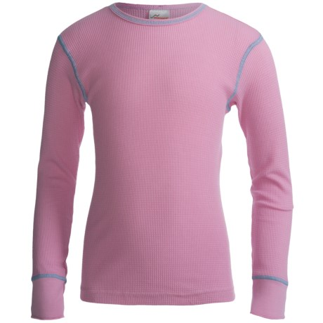 Watson's Thermal Waffle Base Layer Top - Lightweight, Long Sleeve (For Girls) in Bubble Gum