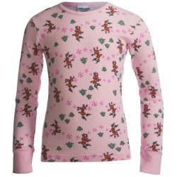 Watson's Thermal Waffle Base Layer Top - Lightweight, Long Sleeve (For Girls) in Pink/Reindeer