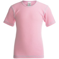 Watson's Thermal Waffle Base Layer Top - Lightweight, Short Sleeve (For Girls) in Bubble Gum/Rose