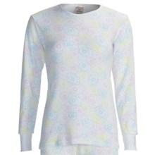 Watson's Waffle Long Underwear Top - Long Sleeve (For Women) in White Flower Print - Closeouts