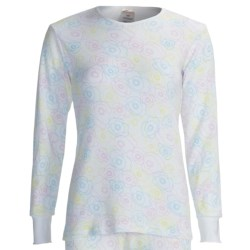 Watson's Waffle Long Underwear Top - Long Sleeve (For Women) in White Flower Print