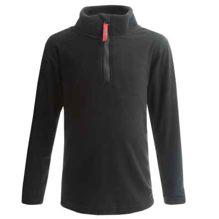 Watson's Brushed Microfleece Base Layer Top - Zip Neck, Long Sleeve (For Little and Big Boys) in Black - Closeouts