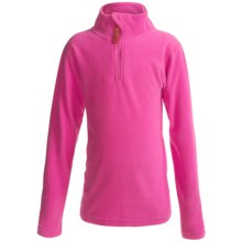 Watson's Brushed Microfleece Base Layer Top - Zip Neck, Long Sleeve (For Little and Big Girls) in Pink - Closeouts