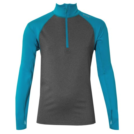 Watson's High-Performance Shirt - Zip Neck, Long Sleeve (For Boys) in Heather Charcoal/Baltic Blue